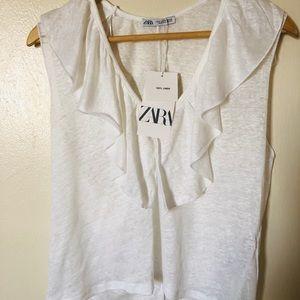 Zara Ruffled Linen top.. Sz, M